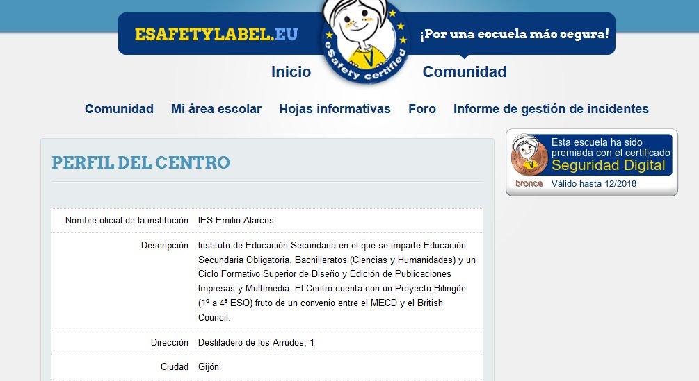 As a result of the #ITatSchool #ErasmusPlus (KA219) #eTwinning Project #IESEAlarcos gets a bronze #eSafetyLabel  http:// blogs.iesealarcos.es/itatschool/201 7/06/19/esafety-label/ &nbsp; … <br>http://pic.twitter.com/14eUFodyBW