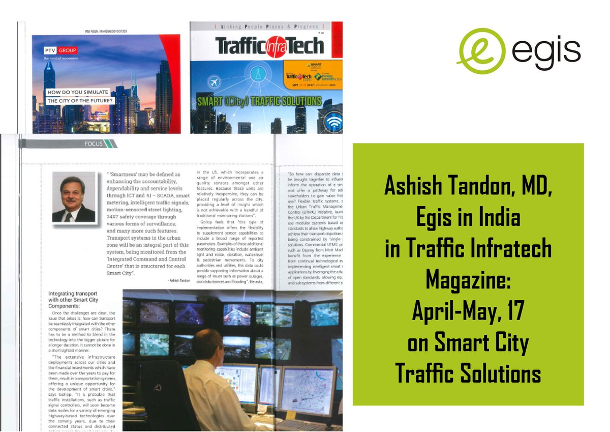 .@Ashish_tandon20 .@egis in Traffic Infratech Magazine April - May 2017 on #SmartCity #Traffic #Solutions <br>http://pic.twitter.com/vohHATl8ZU