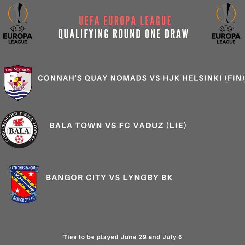 BREAKING: Bangor, Bala and Connah&#39;s Quay face trips to Denmark, Liechtenstein and Finland in the #UEL qualifying round one. <br>http://pic.twitter.com/mHg70RhXFo