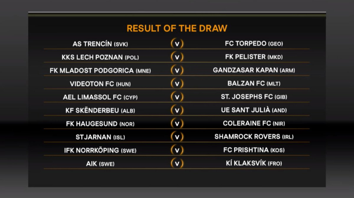The fifth and final set of #UEL first qualifying round draw fixtures a...