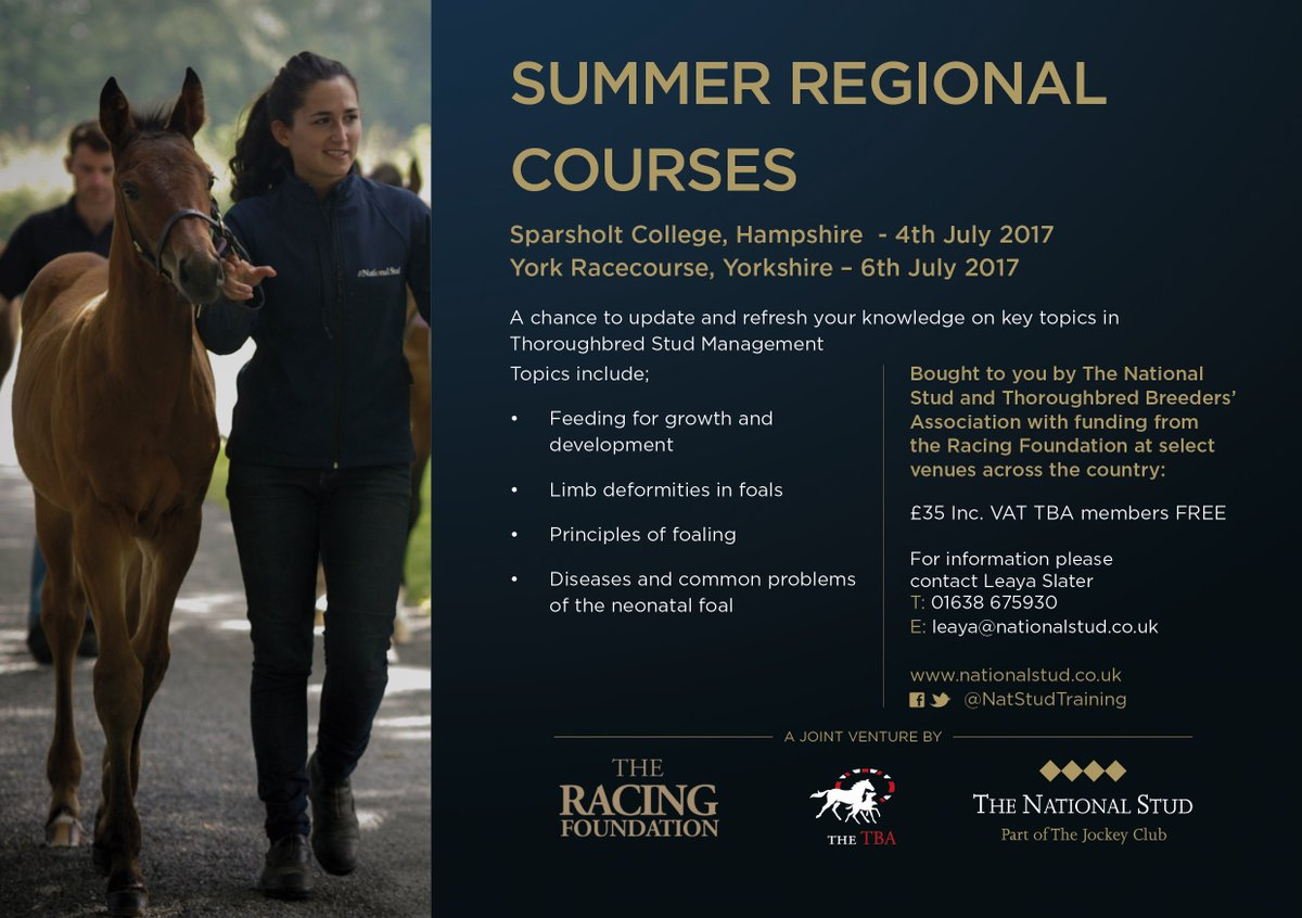 Not in Newmarket? No problem, take at look at our Summer Regional Courses coming up in July @TheTBA_GB @TTC_GB #Learning #Knowledge <br>http://pic.twitter.com/WMBQT3tCcE