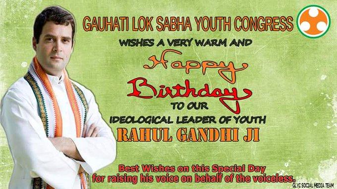 A very Happy Birthday to the Congress VP Rahul Gandhi Ji.