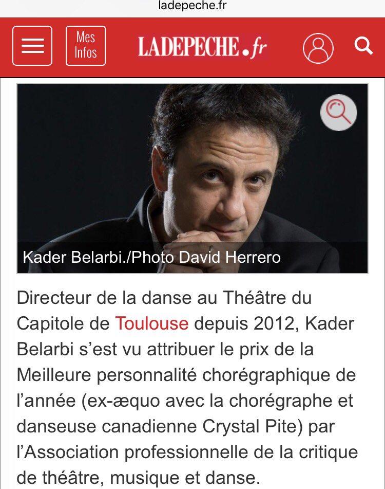 Toutes mes félicitations au directeur de la danse du @theatrecapitole Kader #Belarbi élu personnalité chorégraphique de l'année ! #Toulouse