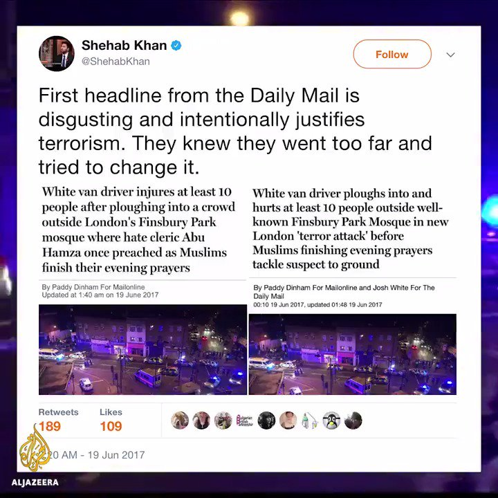 People are calling out the media for double standards on reporting #FinsburyPark attack.