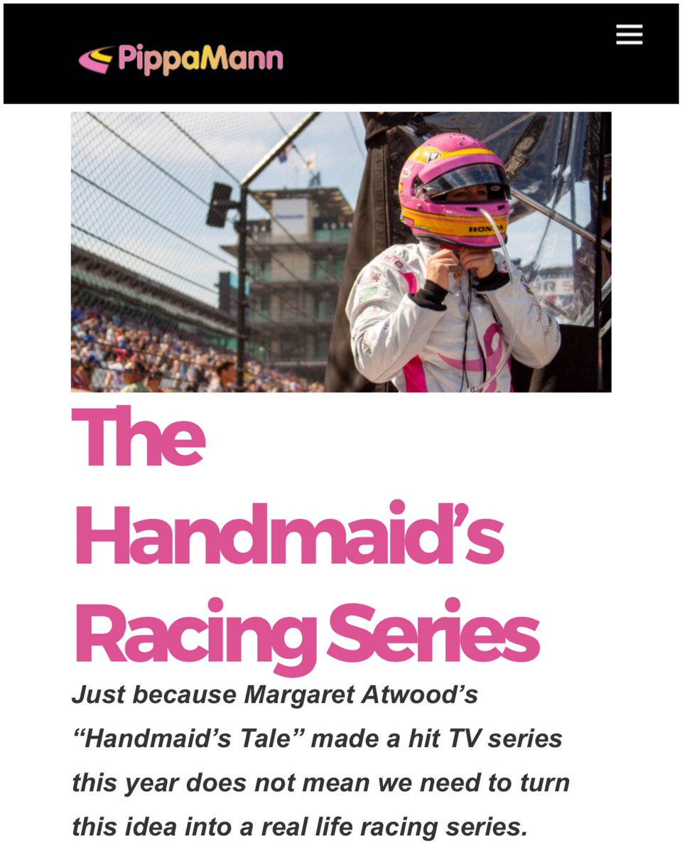 NEW BLOG: The Handmaid's Racing Series >> https://t.co/S5P9chnf3r << #WeRaceAsEquals #SayNoToSegregation https://t.co/4V9z0rfrgi