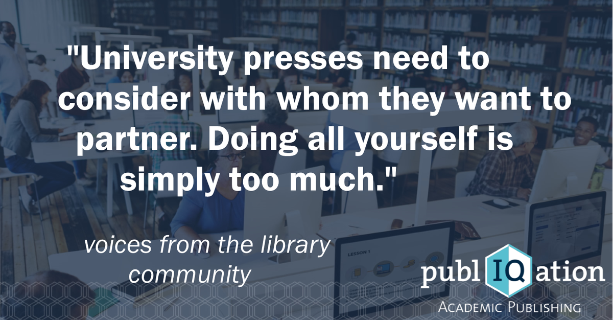 Voices from the library community!  #selfpublishing #universitypress #university #academia #science #ebooks #librarian #scholcomm <br>http://pic.twitter.com/eE5eKXXLgl