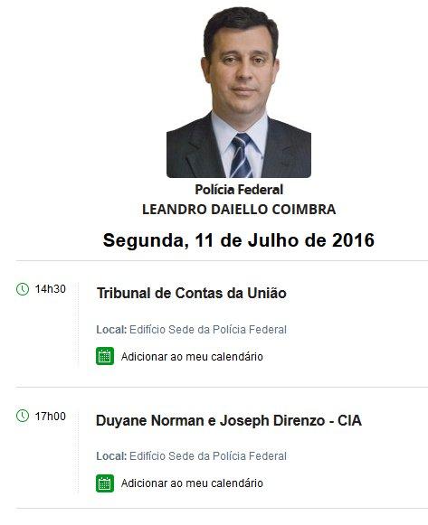 Duyane Norman também aparece na agenda do Diretor-Geral da PF, Leandro Coimbra https://t.co/xJNBwjXK8S