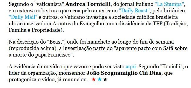 Vaticano investiga dissidência da TFP por aparente pacto com Satã sobre a morte do papa Francisco  https://t.co/DFdsSQqH8E