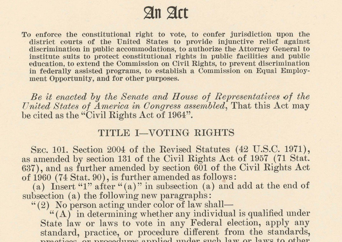 Civil Rights Act passed by US Senate today 1964 after almost 3 months of filibuster: