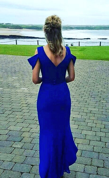 Blue crepe / lace dress by Geraldine O&#39;Meara Designs. Available to order in other colours  #AW/17 #irishdesign #exclusive<br>http://pic.twitter.com/bE7Z9YUZZU
