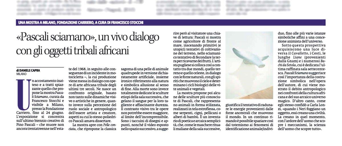 #PinoPascali sciamano cittadino. Su #Alias de @ilmanifesto di ieri mio pezzo su mostra alla #FondazioneCarriero a Milano