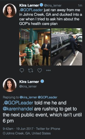 Republican leadership running away from our @kira_lerner to avoid answering questions on health care
