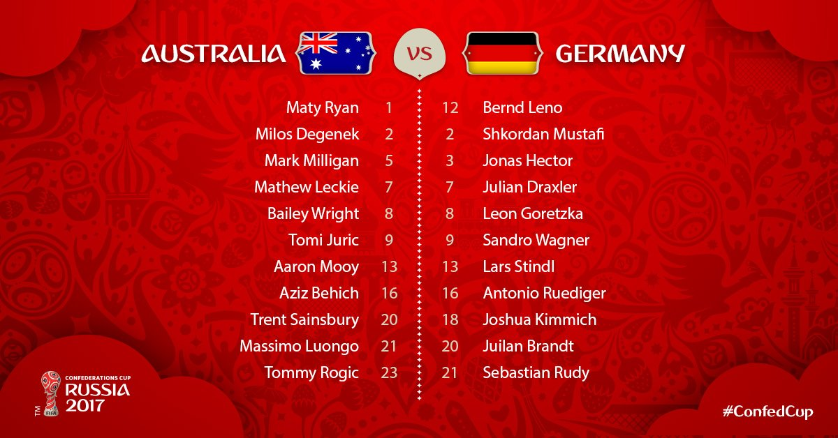 #CONFEDCUP 🇦🇺🆚🇩🇪 Here are your starting XIs for #AUSGER! https://t.co/...