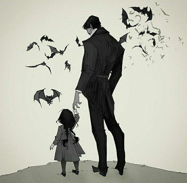 """ホラーやダークファンタジーの世界を描くイラストレーター、アビゲイル・ラーソン。一枚目の蝙蝠を従える父と娘、二枚目のラブクラフトに捧げられた作品が好き。どことなく""""暗黒デ○ズニー""""な作風なので、アニメーションでも観てみたいなぁ… society6.com/abigaillarson"""