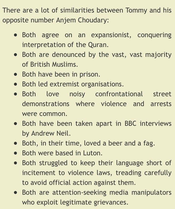 10 Similarities Between Tommy Robinson and Anjem Choudary: https://t.co/bGMBAm3AW5