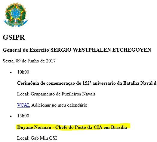 Estagiário honestão revela que o general Etchegoyen, do gabinete de Segurança de Temer, se reuniu com o chefe da CIA no Brasil