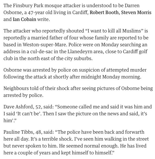 The #FinsburyPark mosque attacker is understood to be Darren Osborne o...