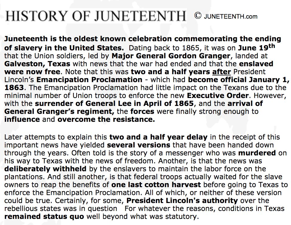 Happy #Juneteenth!   Here's why we celebrate it for those that don't k...