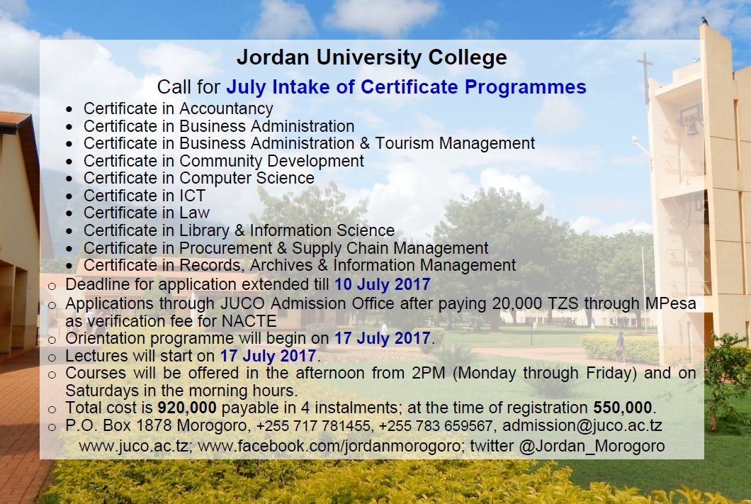 JULY Intake Certificate programmes #JUCO #Morogoro #Tanzania #education #GainWithXtianDela #admission #certificate #programs<br>http://pic.twitter.com/yHKx9MFLq6