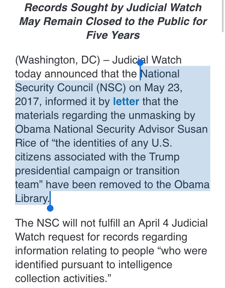 #Obama NSC Advisor Susan Rice's Unmasking Material is at the Obama Library. What is going on here??  http://www. judicialwatch.org/press-room/pre ss-releases/judicial-watch-obama-nsc-advisor-susan-rices-unmasking-material-obama-library/ &nbsp; … <br>http://pic.twitter.com/AEUywuCOBd
