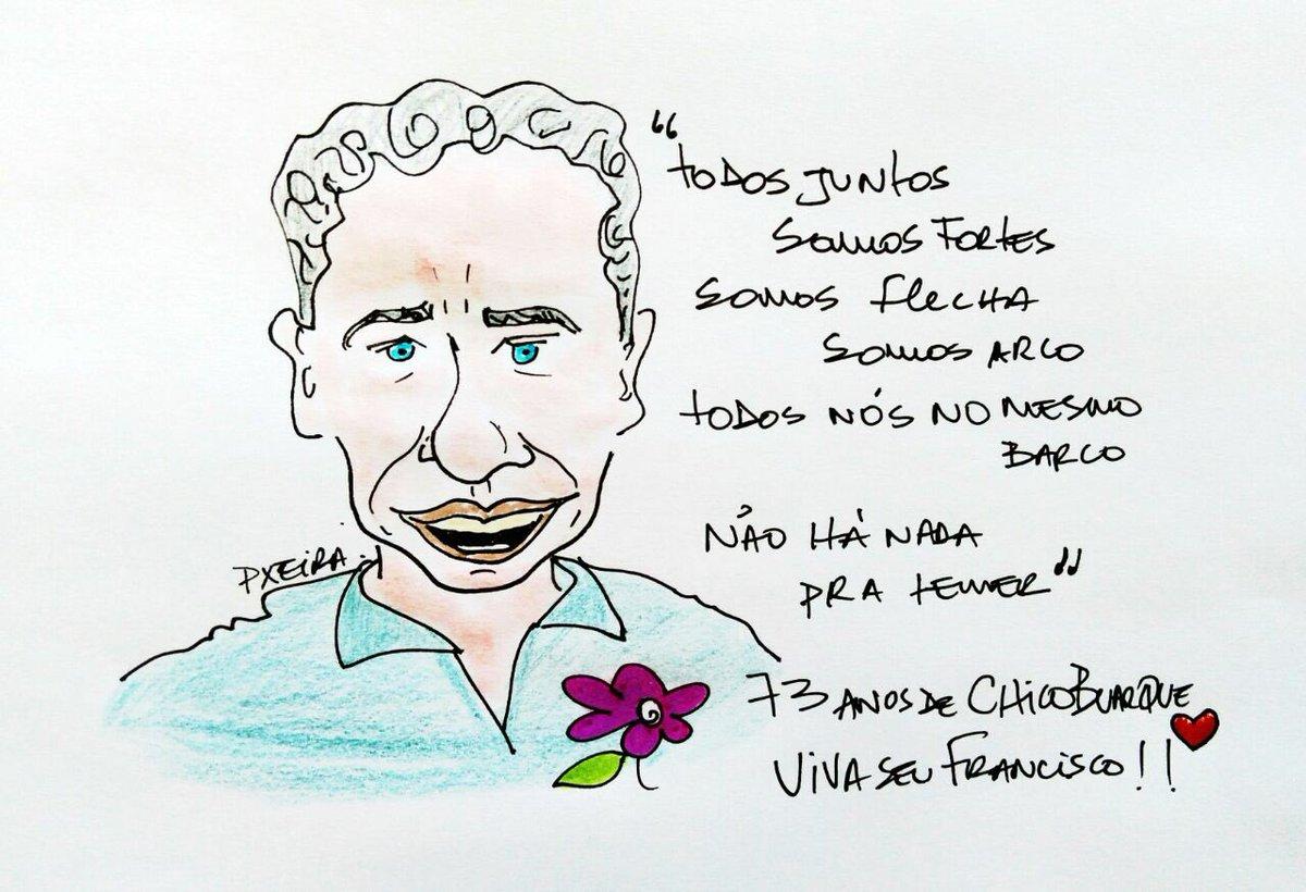 Hj é aniversário de um brasileiro q mistura arte, ética, democracia. Felicidades ao Chico Buarque de Holanda e do Brasil. Desenho de Pxeira
