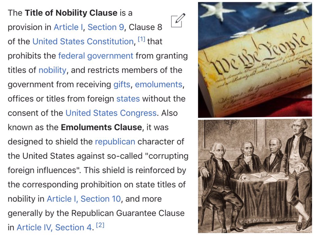 @WashTimes @ckchumley What utter #altfact BS #FoundingFathers wrote Art I, Sec 9, Clause 8 #Constitution to prevent corruption #TrumpCrimeFamily #EmolumentsClause