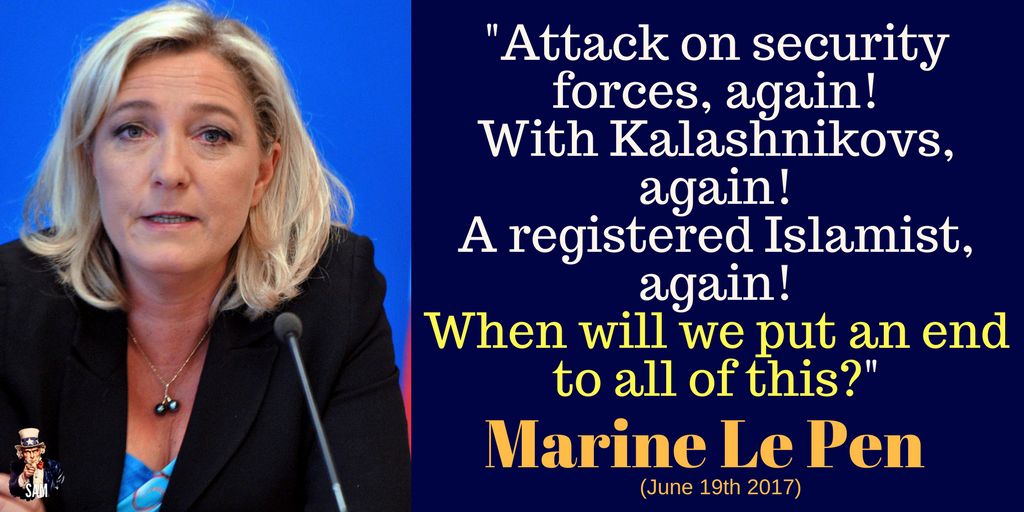 Marine Le Pen: &quot;Attack on security forces, again! With Kalashnikovs, again! An Islamist on watch list, again!&quot; ENOUGH! #ChampsElysees #Paris<br>http://pic.twitter.com/3ALyfZpd73