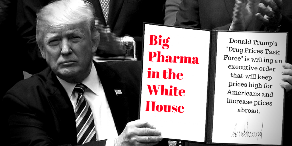 """.@RealDonaldTrump said #BigPharma was """"Getting Away With Murder"""" Now he's aiding &amp; abetting by ↑ #DrugPrices?  http:// khn.org/news/exclusive -white-house-task-force-echoes-pharma-proposals/ &nbsp; … <br>http://pic.twitter.com/ilsjgzUWvK"""