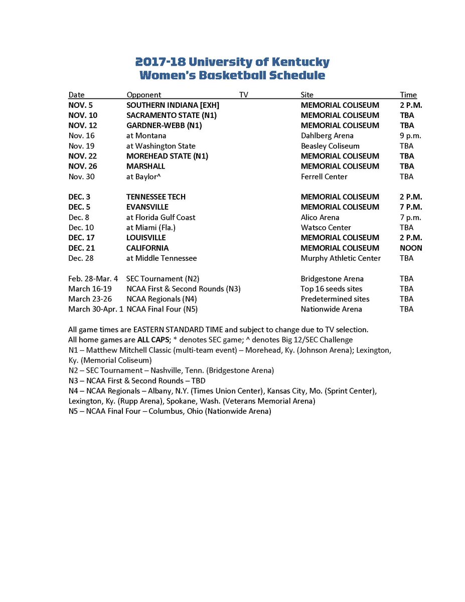 graphic relating to Printable Uk Basketball Schedule referred to as Kentucky WBB upon Twitter: \