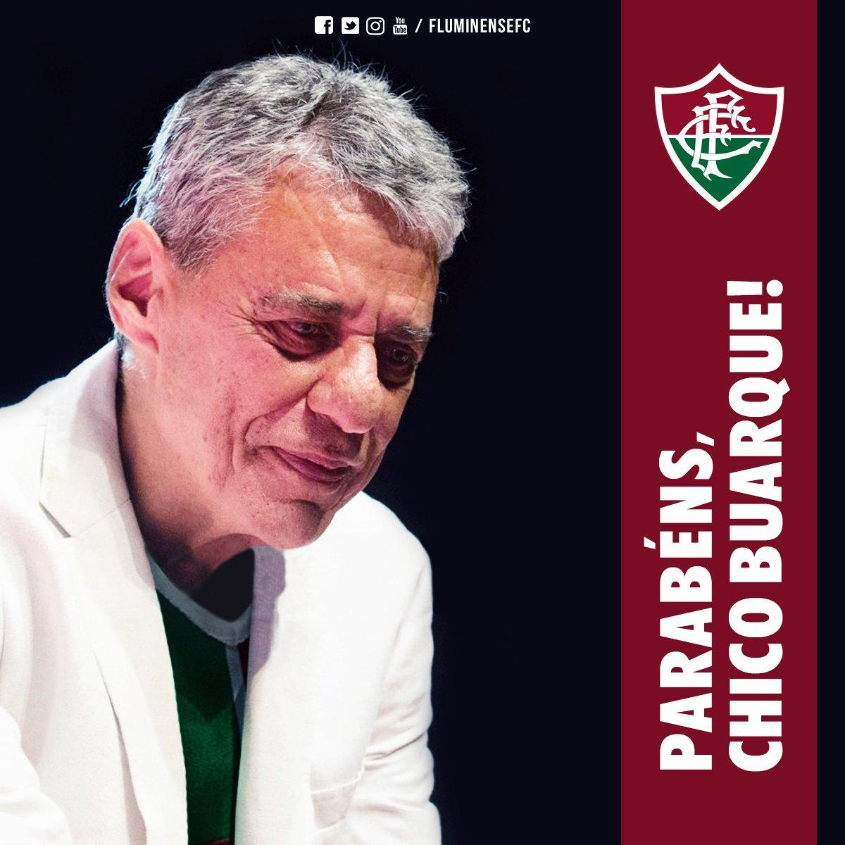 Cantor, compositor, dramaturgo, escritor e #TricolorDeCoração, Chico Buarque completa 73 anos hoje. Feliz aniversário! #SomosFluminense