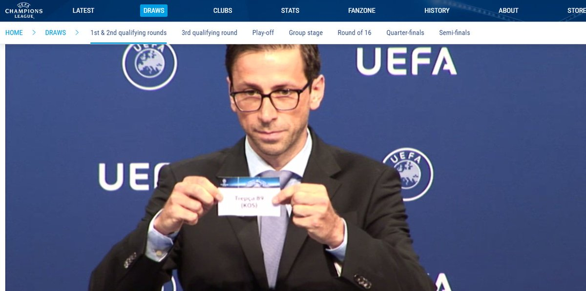 @kosovanfooty Look the moment when @fctrepca89 was unveiled in the moment of the @ChampionsLeague #UCLdraw #Kosovo<br>http://pic.twitter.com/1rLitKMcWW