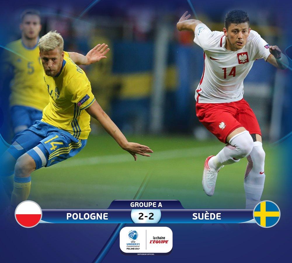 C'est terminé entre la Pologne et la Suède ! Les Polonais évitent l'élimination sur le fil. #lequipeFOOT pic.twitter.com/c1oXwDFmFy