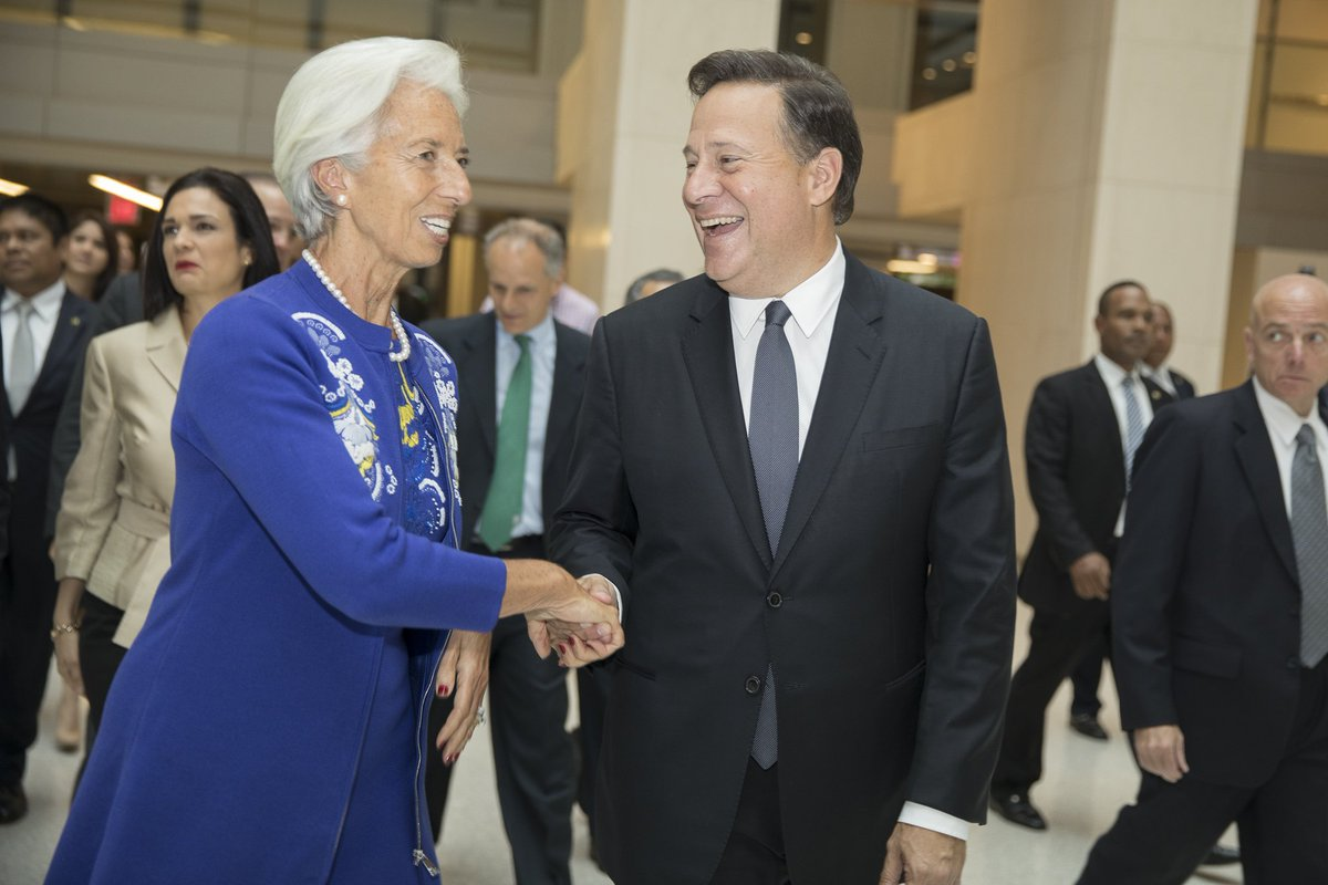 IMF's @Lagarde & President Varela met today to discuss Panama's economy and its efforts to enhance financial integrity & tax transparency