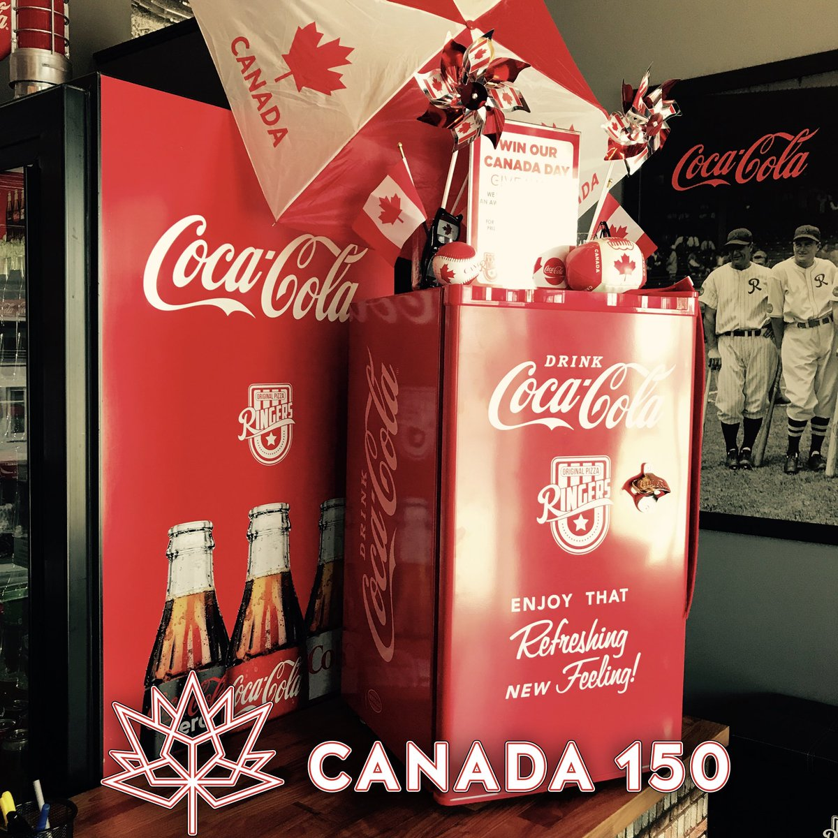Celebrate #canada150  with a great giveaway! Stocked #cocacola #ringers mini fridge &amp; 4Lrg pizzas! Like &amp; RT to enter<br>http://pic.twitter.com/GYNOFEpEHd