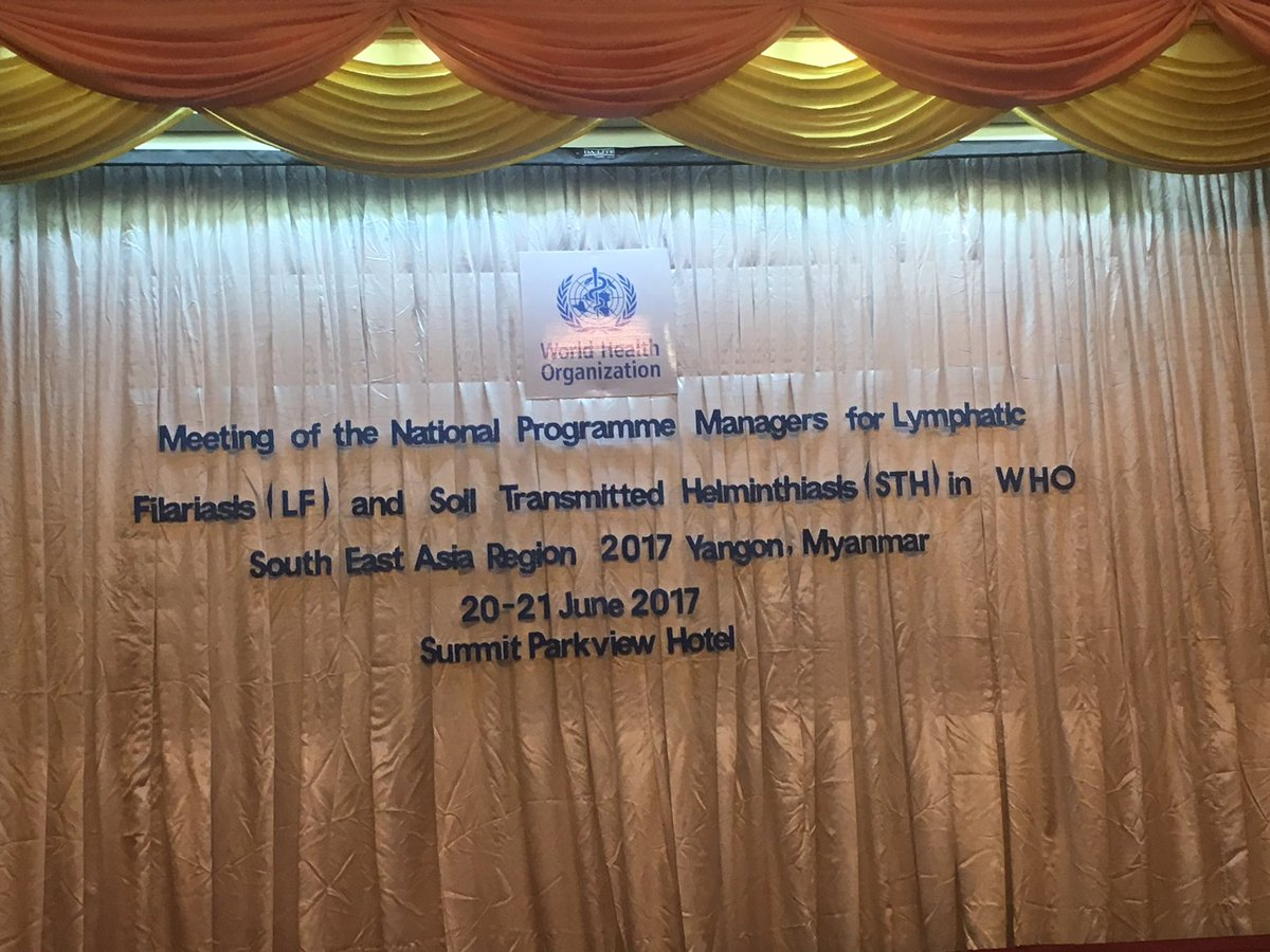 Joint inaugural session of the meetings of National Programme Managers for #LF &amp; #STH and the RPRG. #Yangon, #Myanmar <br>http://pic.twitter.com/xqnpQoJPt1