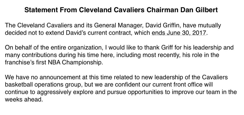 Report: Cleveland Cavaliers, GM David Griffin Will Part Ways