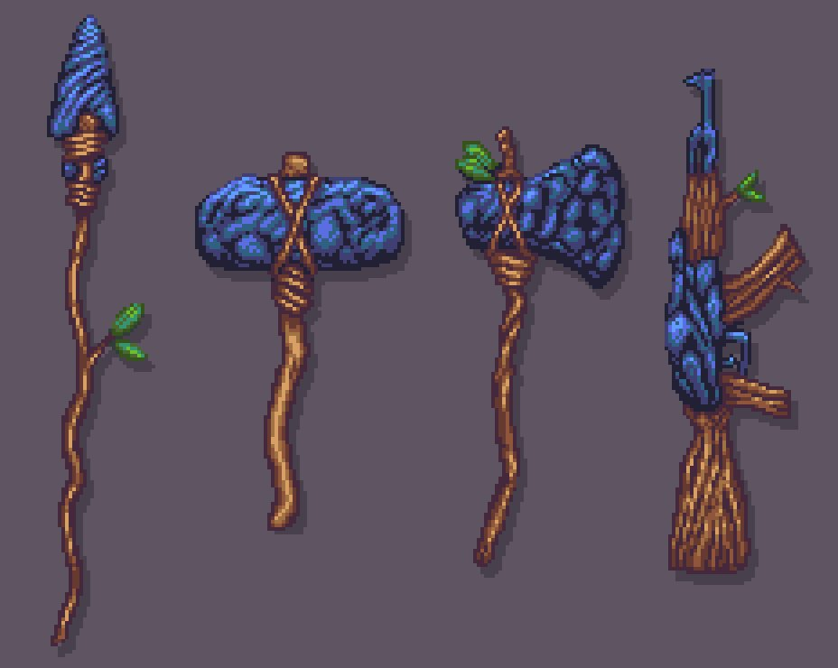 This is how our ancestors hunted. A historically accurate #set of #Tools for #pixel_dailies. @Pixel_Dailies #pixelart #gameart #aseprite<br>http://pic.twitter.com/wERrHpyHNH