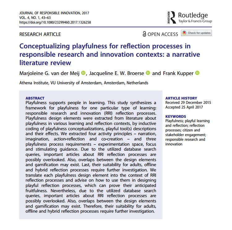 Conceptualizing playfulness in #RRI - a #literature #review  http://www. tandfonline.com/doi/full/10.10 80/23299460.2017.1326258 &nbsp; …  #research #innovation @RoutledgeSTS @TandFOpen #OA <br>http://pic.twitter.com/LVXvC4IwAq