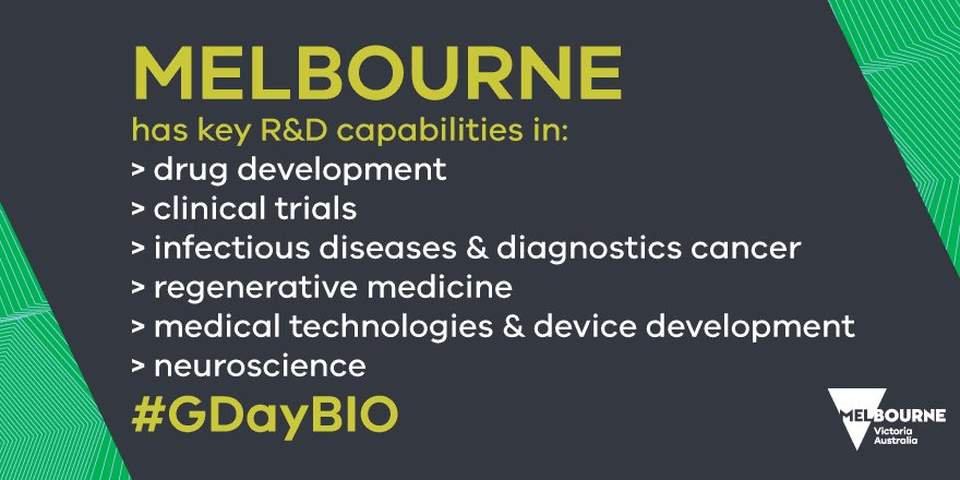Melbourne Australia has key R&amp;D capabilities in #Biotechnology #GDayBIO<br>http://pic.twitter.com/8qLhTrWFZX
