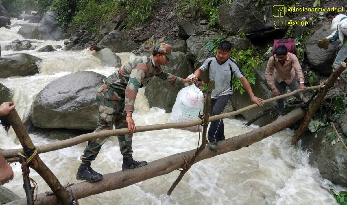 #ArunachalPradesh: Security forces rescue 200 people from a landslide-hit area in #Bhalukpong in West Kameng District.  Pic: @adgpi