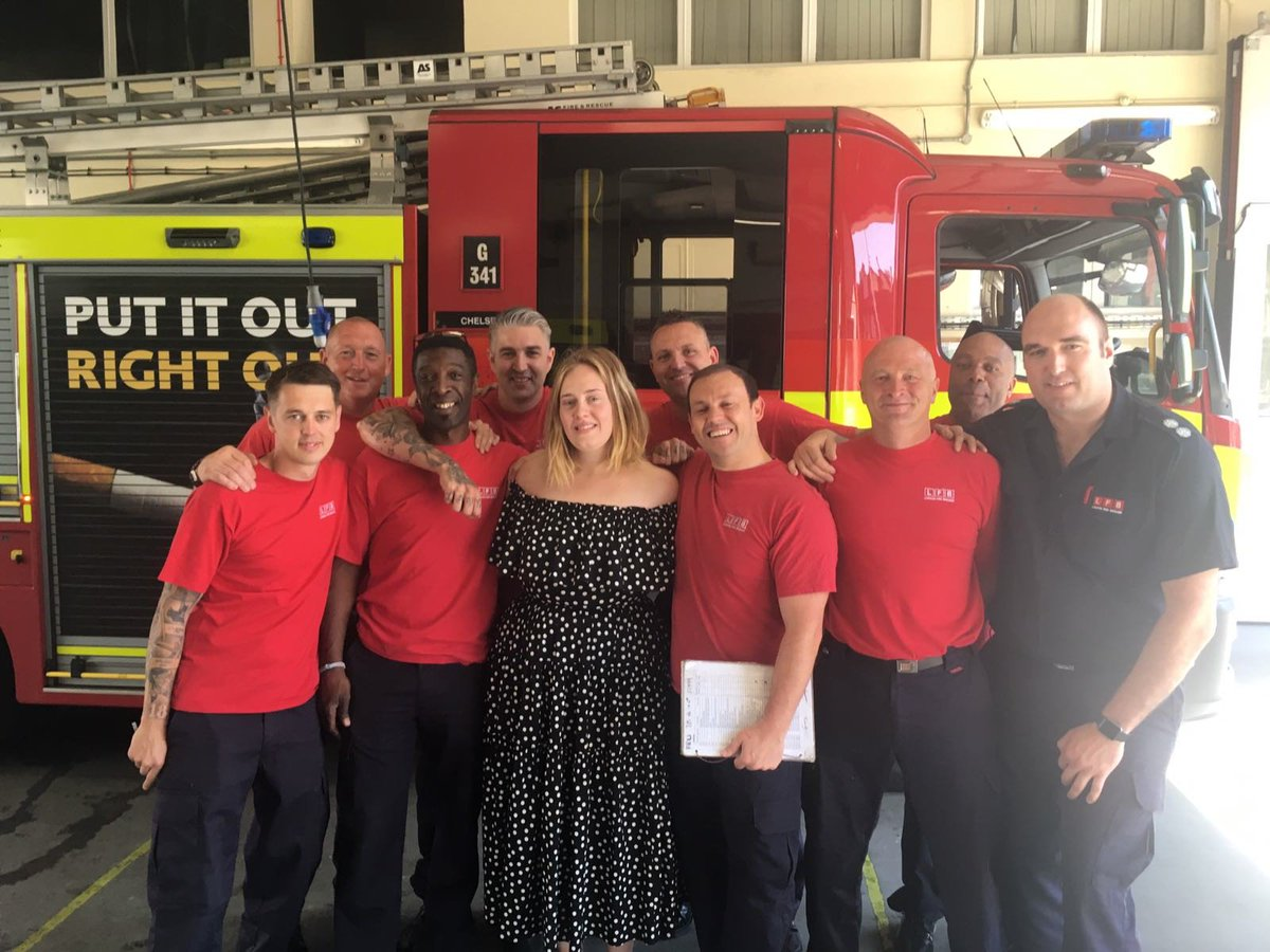 Adele enjoyed a cup of tea with Chelsea firefighters yesterday and thanked them for their work. We are so humbled by everyone's support