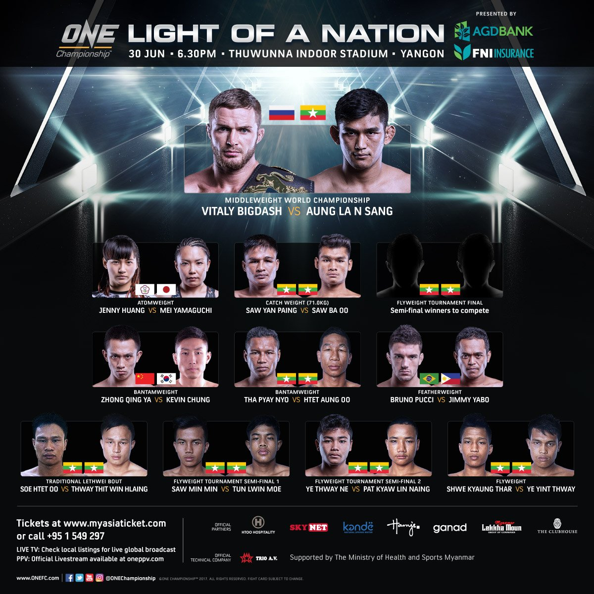 A nation lights up on 30 June. Will the stars shine?  #ONEFightNight #Yangon #Myanmar #MMA<br>http://pic.twitter.com/HR7WWsZMCU