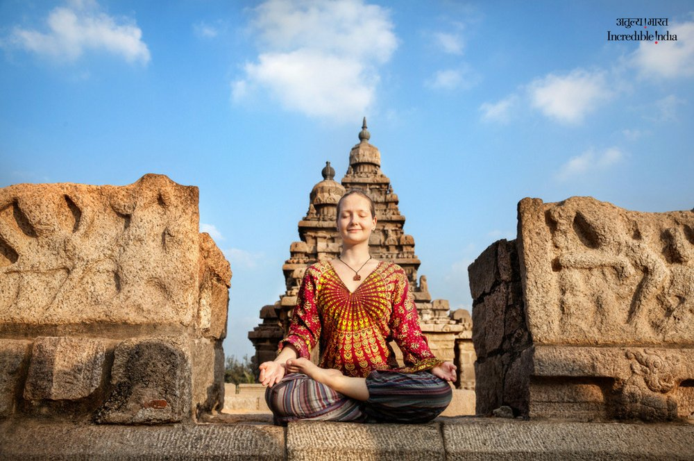 Find inner peace on the tranquil shores of Mahabalipuram. #Yoga #Tamil...