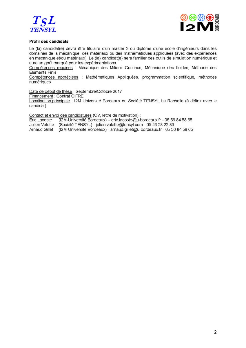 Laboratoire I2m On Twitter Offreemploi Doctorant H F These