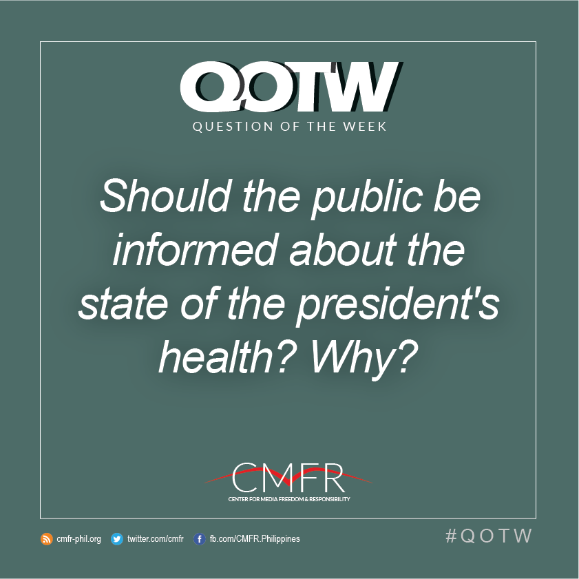 Thumbnail for QOTW: Should the public be informed about the state of the president's health? Why?