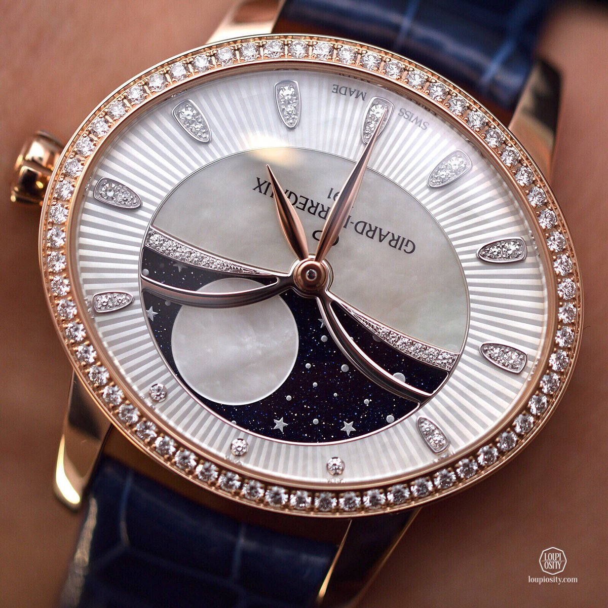 Cat's Eye #Celestial @GirardPerregaux #onwrist - mother-of-pearl guilloché dial, aventurine #moonphase indicator, set with #diamonds<br>http://pic.twitter.com/Dsfeyptumg