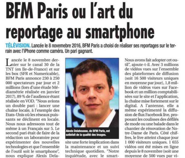 """Dans #lalettredel'audiovisuel du jour : """"@BFMParis ou l'art du reportage au smartphone"""" @2lahousse #bfmparis #tv #iledefrancepic.twitter.com/SgnUXmLcB7"""