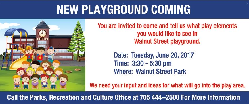 Don&#39;t Forget! Public input opportunity on Walnut Street Playground today 3:30 - 5:30 #publicengagement #RunJumpPlayEveryday @CollingwoodHKCC<br>http://pic.twitter.com/WNMpWPKSc3