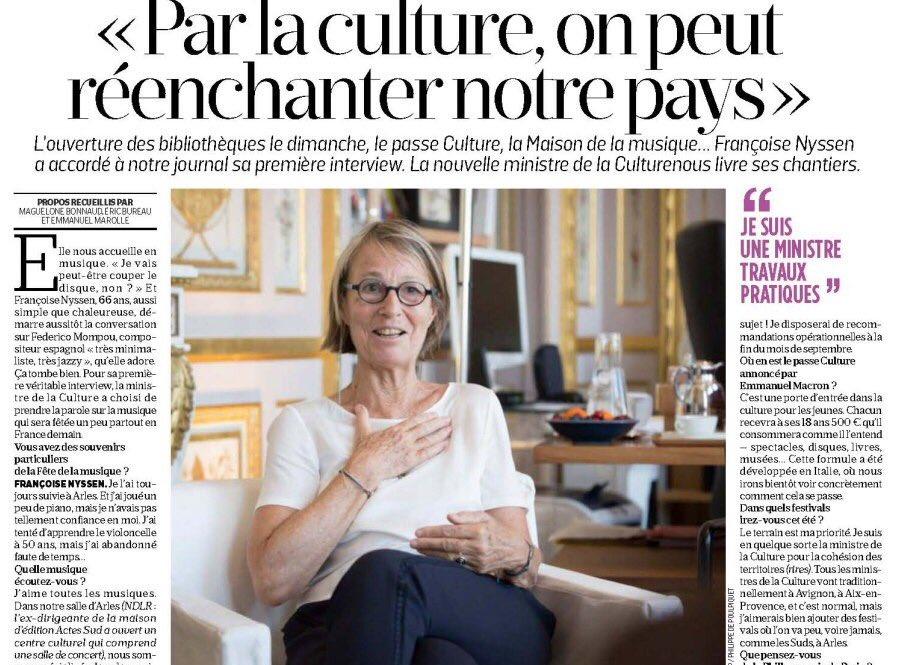 Les priorités de @FrancoiseNyssen sont à lire dans #LeParisien d'aujourd'hui. Vive la musique! pic.twitter.com/kEFtd9pzwN