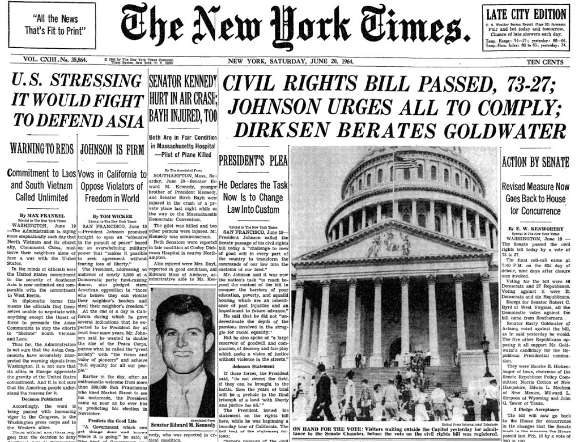 Big stuff in NYT front page this day 1964:  1. Landmark Civil Rights Act passed 2. U.S. vows to fight in Vietnam 3. Another Kennedy tragedy